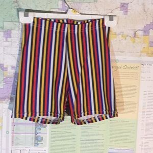 Stripped spandex high waisted shorts